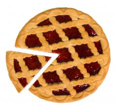 A cherry pie with a lattice topping.