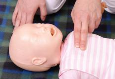 Infant manikins help people learn infant CPR.
