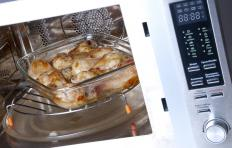 Combination microwave-convection ovens are usually small enough to fit on top of a counter, but large enough to cook a full size meal.