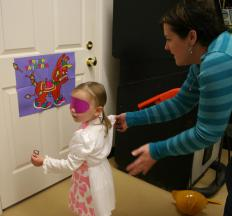 Pin the Tail on the Donkey is often played at children's birthday parties.