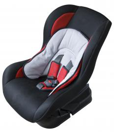 A front-facing car seat.