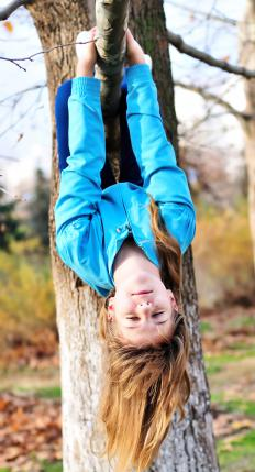 A spirited child hanging upside down from a tree.