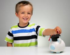 Many children enjoy collecting loose change in a piggy bank.