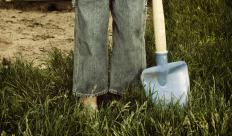 Round point shovels can dig into dirt and carry dirt or other materials.