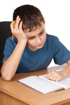 A child having trouble with homework.