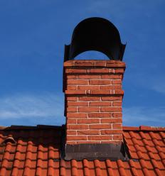 The chimney surrounds and provides insulation for the flue.