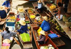 A sampan is a skiff commonly found in parts of Asia.