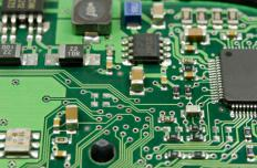 A circuit board holds electronic components.