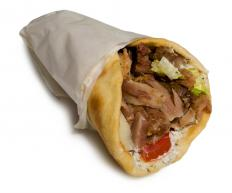 A gyro sandwich from a roach coach.
