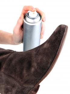 Sprays may be used to protect suede from water damage and stains.
