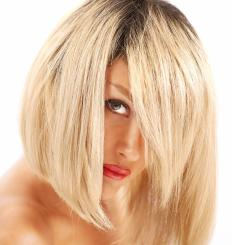 A graduated bob haircut is shorter in back and longer in front.