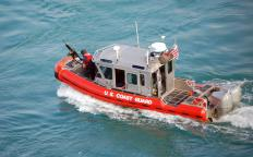 The U.S. Coast Guard uses small boats to overtake ships and boats that have broken navigational rules in U.S. waters.