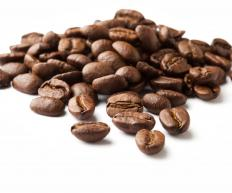 Whole roasted coffee beans.