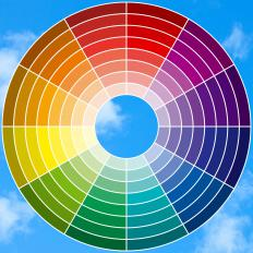 A color wheel shows the hues of single colors, along with complementary colors.