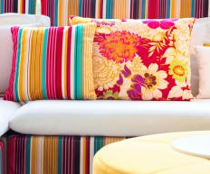 Cushions and pillows may be made with high density upholstery foam.