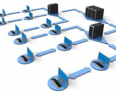 Frames, or packets of data, are usually sent between local area networks (LANs) within a wide area network (WAN).