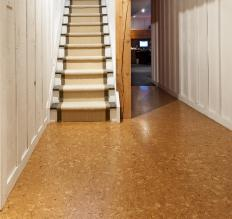 Cork flooring has a supportive and springy surface.