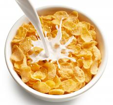 Cold cereal with milk is a vegetarian breakfast option.