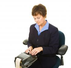A stenograph machine may be used to transcribe dialogue.