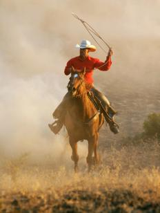 Western riding allows a rider to use a lariat with one hand while controlling his horse with the other.