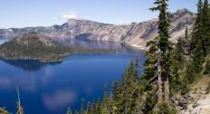 A famous caldera lies below Crater Lake in Oregon.