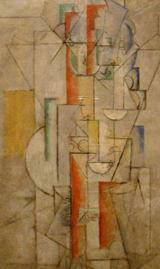The Cubist art movement emphasized flat lines, geometric shapes, and a break from realistic depictions.