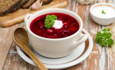 Cold borscht is often served with a dollop of sour cream.