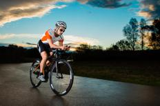 A triathlon typically includes a biking portion.