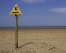 Quicksand is most likely to occur near a water source.