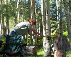 A man using an axe to chop wood.