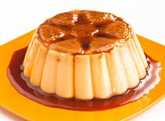Flan is a baked custard made with eggs, gelatin, vanilla and cream or milk.