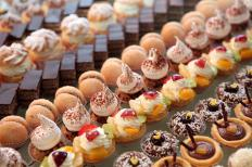 Desserts on display at a buffet.