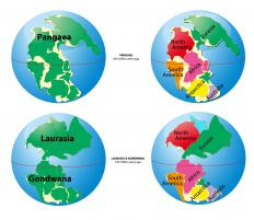 A map of several supercontinents.