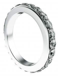 Eternity ring with a row of diamonds around the entire circumference.