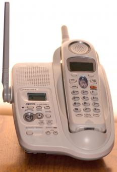Cordless handsets use radio waves to send and receive electronic signals from a base unit.