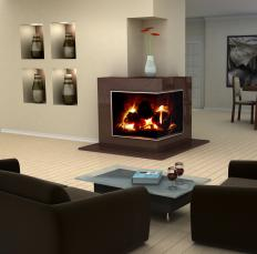 A ventless gas fireplace.