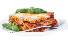 Substitute polenta for pasta to make a lower calorie lasagna.
