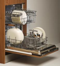 A traditional dishwasher features a single door that opens and racks that can be pulled out.