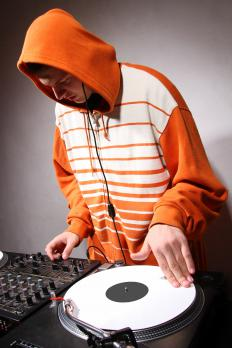 Disc jockeys use jog dials for fades, record skips, and other effects.