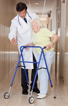 An elderly person may require a walker for stability.