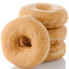 Doughnuts are sweet, fried pastries that are eaten for dessert or breakfast.