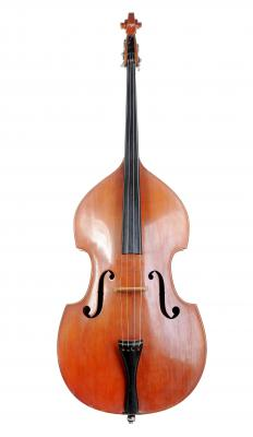 A double bass, which can be used to play artificial harmonics.