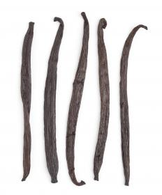 Dried vanilla beans, the fruit of the vanilla orchid.