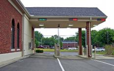 Bank drive-thrus often use pneumatic tubes, a type of air conveyor, to transport items from the customer to the teller.