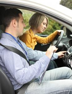 A licensed instructor will ride along during the driving portion of a driving instructor test.