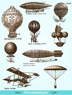 Early airships, including the Montgolfiere, one of the first hot air balloons.
