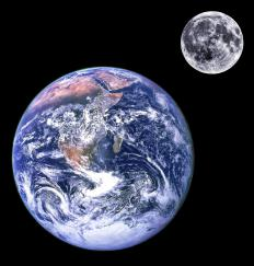 High tide and low tide are created by the gravitational pull of the moon on water on Earth.