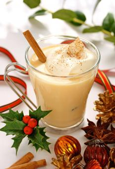 A glass of egg nog.