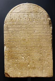 Many examples of Egyptian hieroglyphics were preserved on stone tablets.
