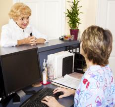 A medical secretary may fulfill a receptionist role by greeting patients and booking appointments.
